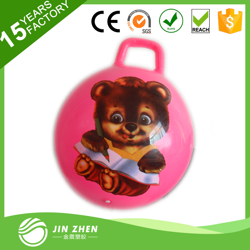 2017 ECO-friendly PVC hopper ball/jumping ball with handle for kids