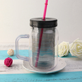 Plastic double wall tumbler with handle and straw cup