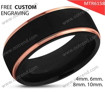 Wholesale Rose gold black tungsten ring rose gold plated tungsten ring
