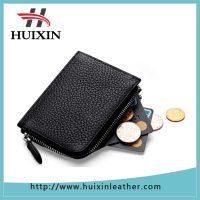 Womens leather card case wallets super soft money organizers small purse with zipper cash holders for lady