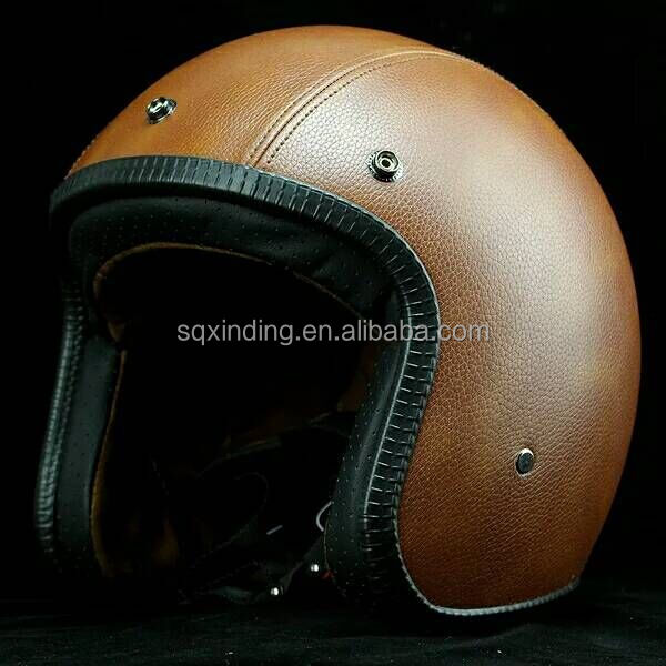 Wholesale Leather Cover Open Face Helmet For Vintage Motorcycle Helmet