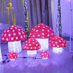 Theme park event decoration 3D Acrylic Christmas mushroom light