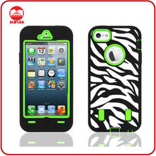 For Zebra Print iPhone Cases Black Green Hybrid Cover Customized Combo Case