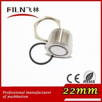 FLM22SS-FJ-E-T-4P Solder short pin ring electrical power waterproof push button switch