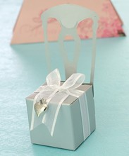 Silvery paper chair white ribbon heart shape decoration chocolate gift box