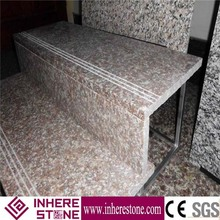 prefab house indoor staircase pink granite stair tread