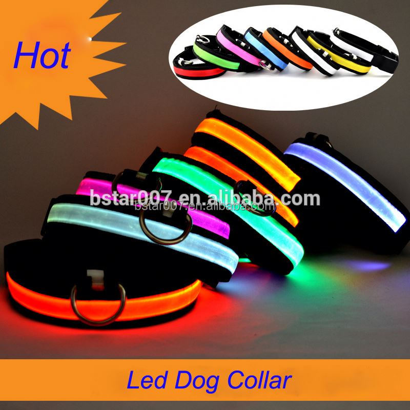 New design Colorful Adjustable dog collars glow in the dark led dog collar outdoors pet supplies