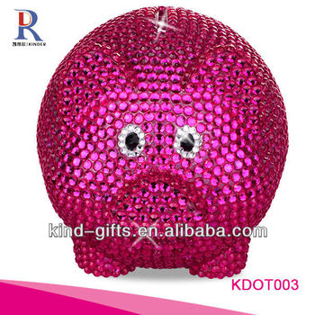 Hot Sale Christmas Gift Bling Rhinestone Big Piggy Banks With Crystal China Supplier