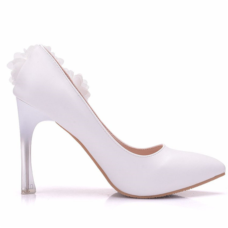 Women's White Flower Decoration Pointed Toe Pumps Party Wedding Sexy High Heels Shoes