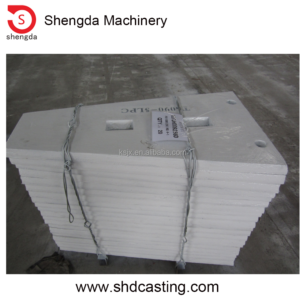 High quality manganese metal casting C125 cheek plate upper and lower
