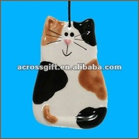 Hanging ceramic cat ornament