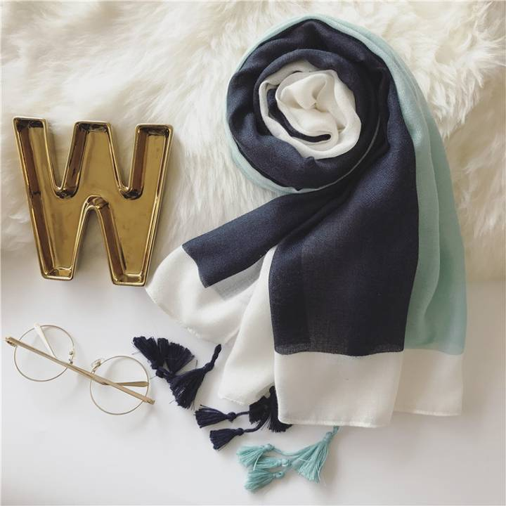 Hot Sale Printed Color Block Scarf Long Shawl Wraps Tassel Hijab Long Size Muslim Shawl Wraps