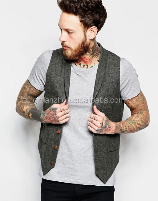 China Supplier Clothing OEM Fashion Gray Slim Fit Vest Shawl Collar Men Vest For Sale