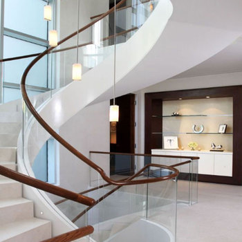 Famous designer Modern White Stairs Indoor Double Stringer Curved Staircase