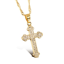 Iced out bling jewelry gold plated micro pave diamond cross pendant necklace hip hop jewelry AAA CZ stone casting cross pendant