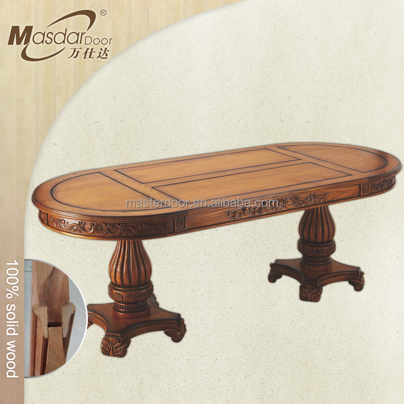 Cheap oval shaped solid wood dinning table Foshan