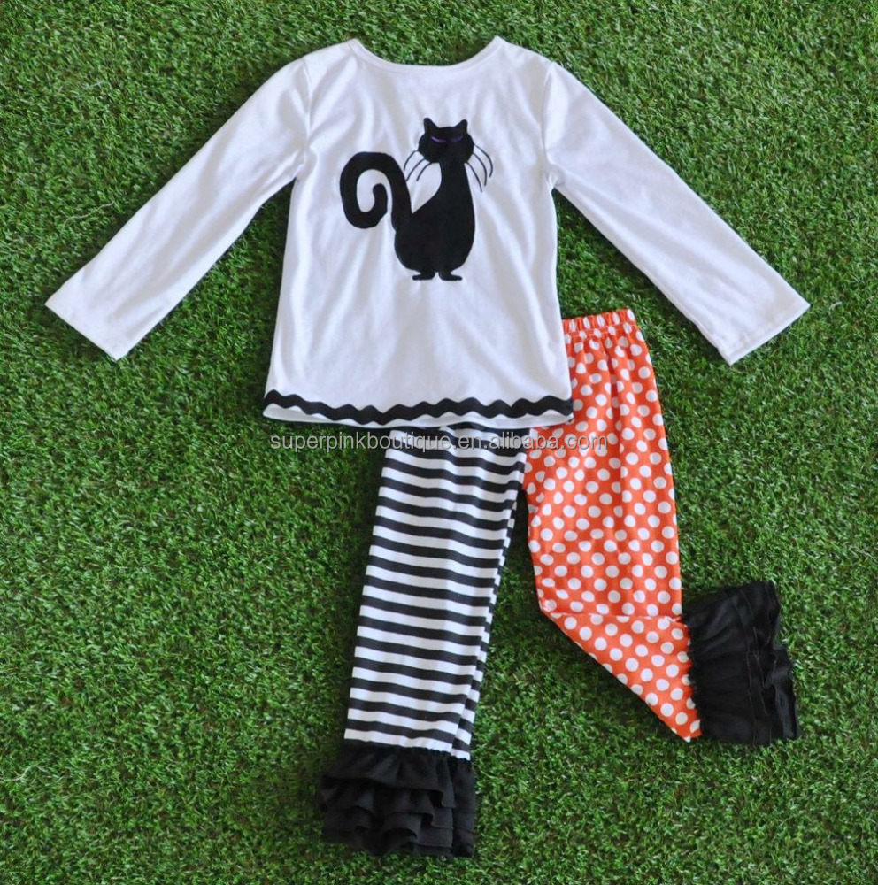 good quality fall winter ruffle cotton cat embroidered halloween boutique girl clothing