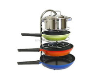 Home Kitchen Stainless Steel Frying Pan Pot Organizer Stand Holder Rack