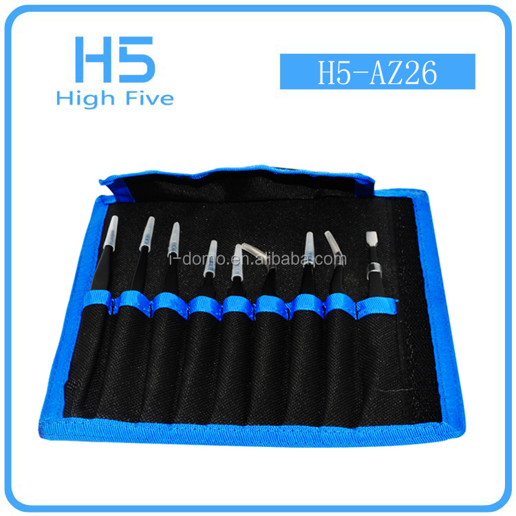 Multifunctional 9 in 1 Anti-static Precision Stainless ESD Tweezer Maintenance Tools Set for Electronic Repair & Make Up
