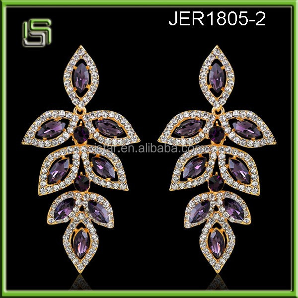 Ladies crystal wholesale long leaves drop earrings
