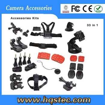 Go Pro Accessory Kit Ultimate Combo Kit 33 accessories for Go Pro HERO4 3+ 3 2 1,sj4000,sj5000 sport camera
