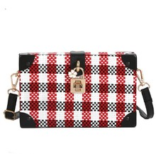 Fashion Ladies Crossbody Plaid Woolen Cloth Bag PU Leather Single-shoulder Bag
