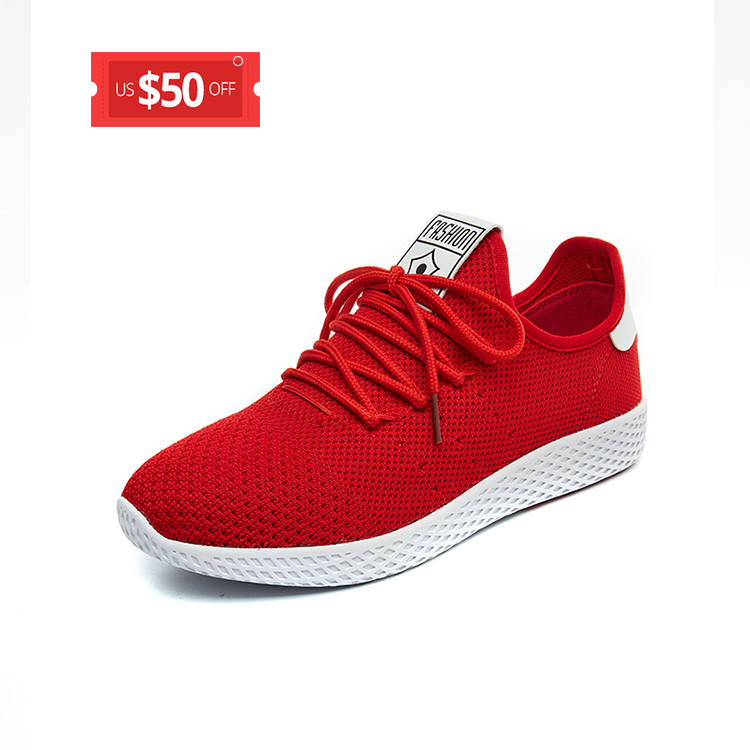 2017 new breathable lace up knitted cotton fabric women sneakers red shoes