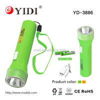 Plastic flashlight 1w rechargeable led torch led hand light with 18650 battery