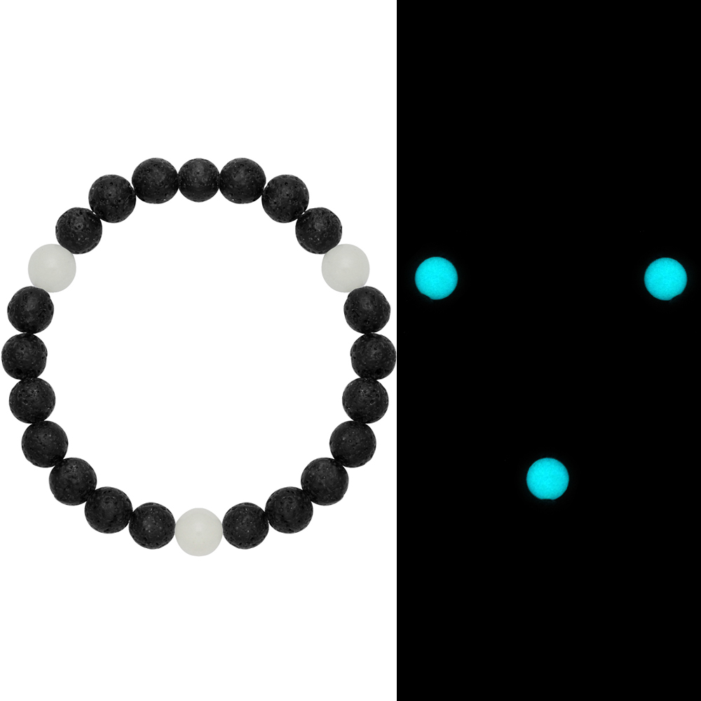 Alibaba express hot sale lava rock bracelets with glow in the dark beads