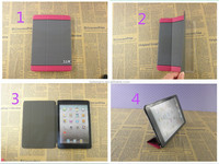 Stripe leather flip stand tablet case for ipad mini triple flip stand magnetic cover for ipad mini protector