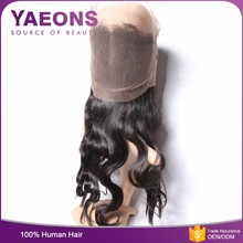 Grade 6 a indian natural curly 360 degree lace frontal closure with baby hair