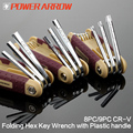 POWER ARROW Chrome Vanadium Plastic handle Adjustalbe Folding Hex key wrench set allen square key wrench