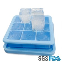 2016 High Quality Customize Square Shaped Silicone Popsicle Ice Cube Tray With Lid