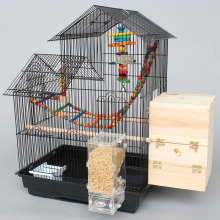 black Steel metal large parrot cage iron cage for birds A09