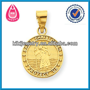 custom made golden plated saint christopher engravable charm