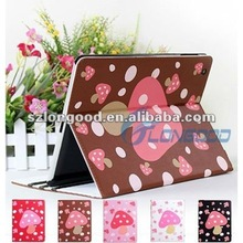 New Cute Mushroom Dot PU Leather Cover Stand Case For iPad 2 for iPad 3