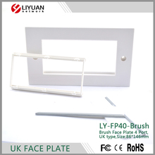 LY-FP40-Brush Decora Brush Passthrough, White Module FACE PLATE