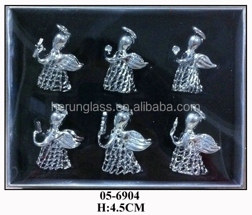 silver Sponge glass small angels S/6