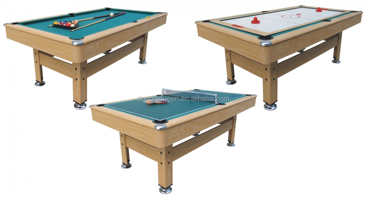 3-in-1 bumper pool table with air hockey table and tennis table top