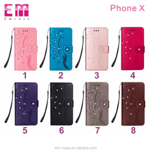 Luxury hand lanyard phone cover stand holder phone housing bling bling leather case for iPhone X