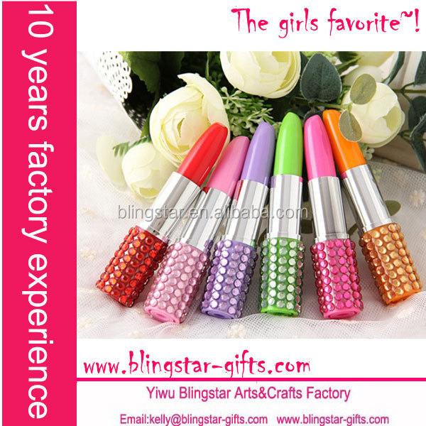 hot selling fashion diamond crystal lipstick promotional pen
