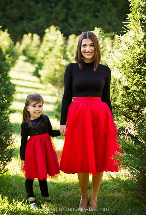2017 New Arrive Tulle Skirt Mother And Daughter Matching Dresses