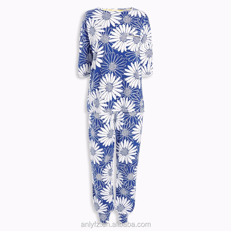Anly 2016 wholesale women Blue Floral Pyjamas soft touch cotton sleeping wear for mature women