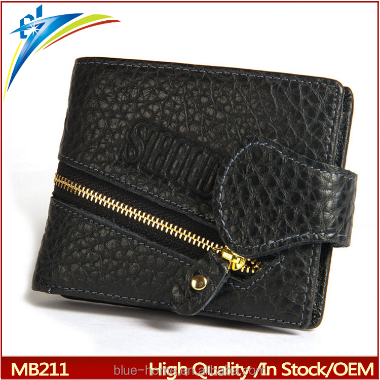 2017 new China Wholesale Buckles zip purse smart men's wallet,zipper button short wallet