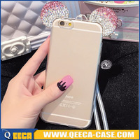 2016 newest & fashionable shining crystal bling bejeweled phone case for iphone 6/6s diamond ear tpu case