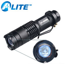 365NM Blacklight Mini Size Zoomable Waterproof Money Watermark UV LED Flashlight