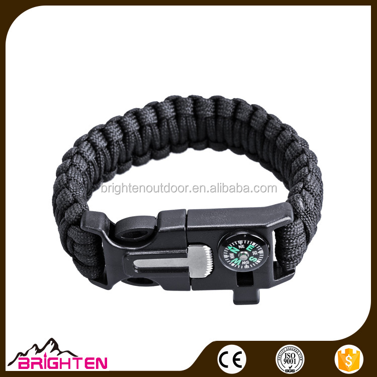 cheap custom paracord survival bracelets with whistle compass