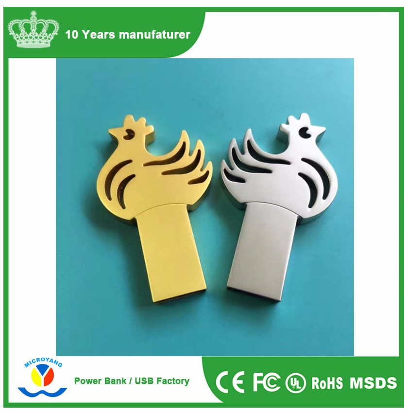 Slim mini metal Zodiac Chicken usb 2.0 memory flash drive