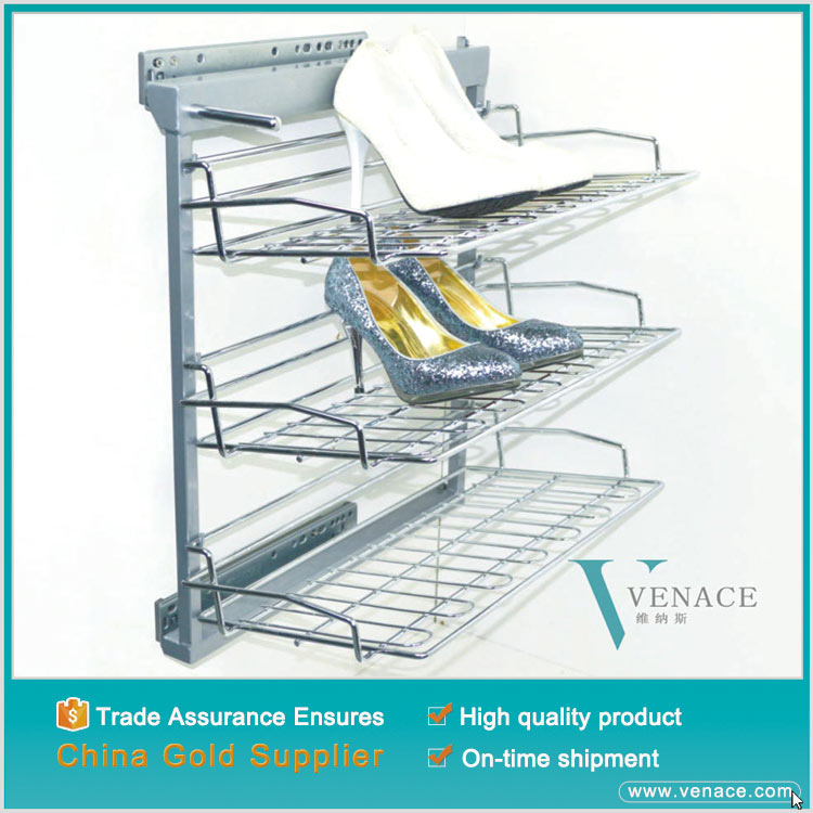 Wardrobe soft close pull out metal shoe rack