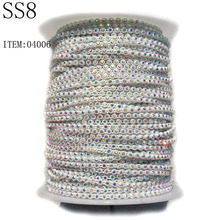 SS8 Rhinestone Roll Inlay AB Crystal Sewing Rhinestone Plastic Cup Chain For Jewelry.